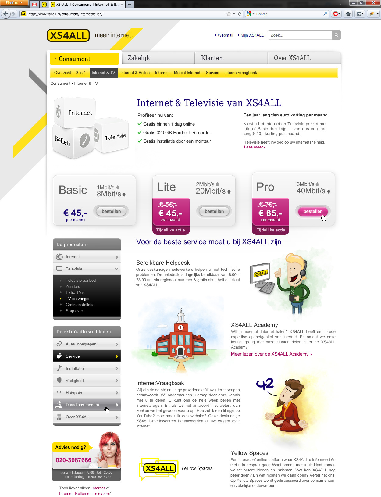 XS4ALL product page